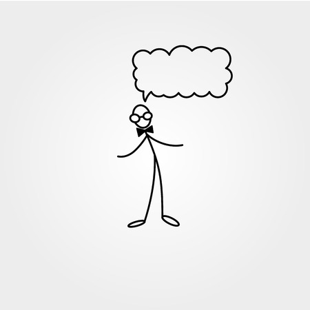 Stick figure man with glasses, vector drawing on white background