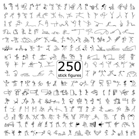 Cartoon icons set of 250 sketch little people stick figure