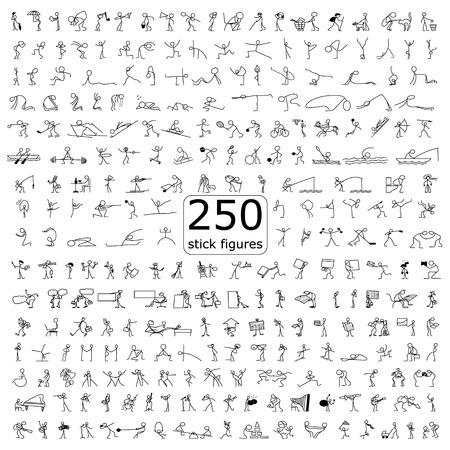 iconen cartoon set van 250 schets kleine mensen stok cijfer