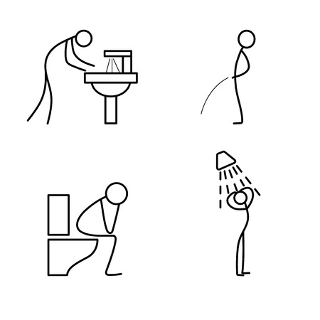 wash hand stand: Cartoon icon of sketch stick figure doing life routine