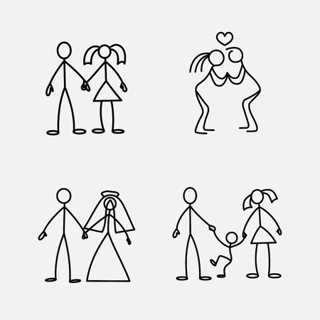 Cartoon icons set of sketch little vector people in cute miniature scenes.