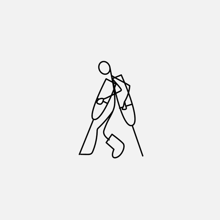Vector stick figure illustration: Injured stick man in bandages with crutches.