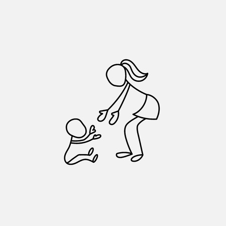 child holding sign: Cartoon icon of sketch little people in cute miniature scenes. Illustration