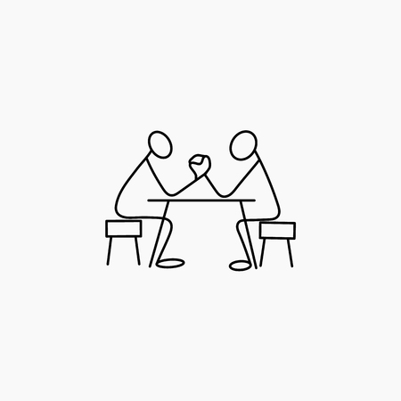 Stick figure men armwrestling