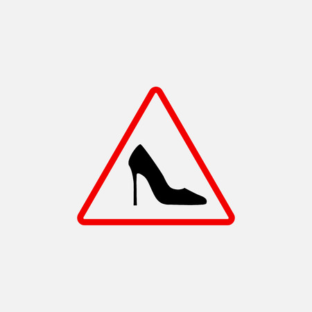 vector triangle with shoe inside. Vector high heels woman driver sign. Illustration