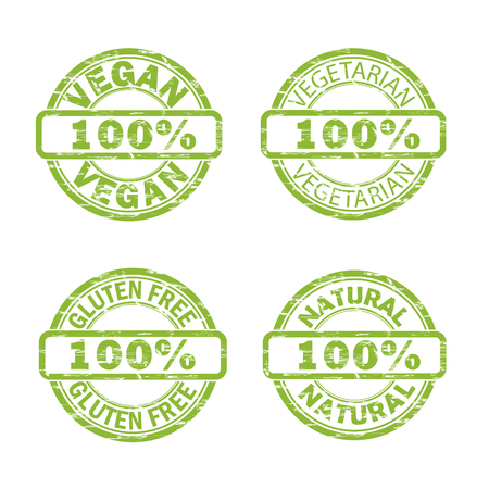 hundred: NATURAL, VEGAN, GLUTEN FREE stamp signs