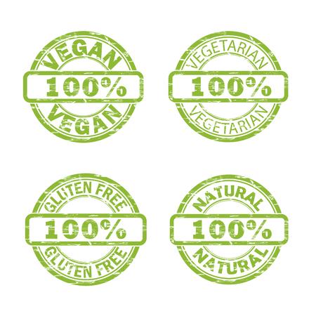 NATURAL, VEGAN, GLUTEN FREE, VEGETARIAN stamp signs