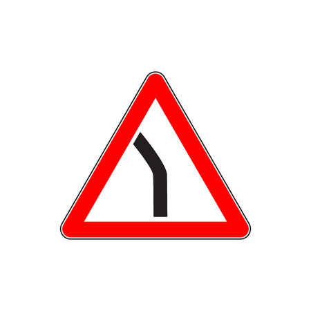 Red Dangerous turn sign