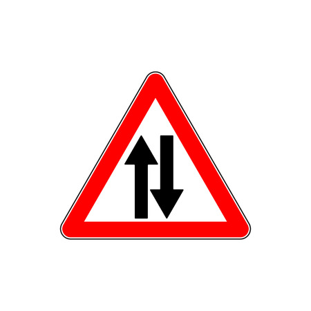Road Sign Warning Two Way Traffic Illustration