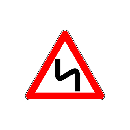 Red Dangerous double-turn sign Illustration