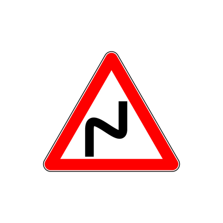 uturn: Red Dangerous double-turn sign Illustration