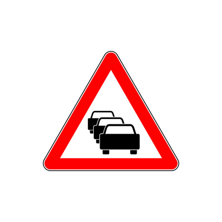 Traffic jam. Vector road sign