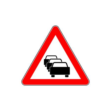 Traffic jam. Vector road sign