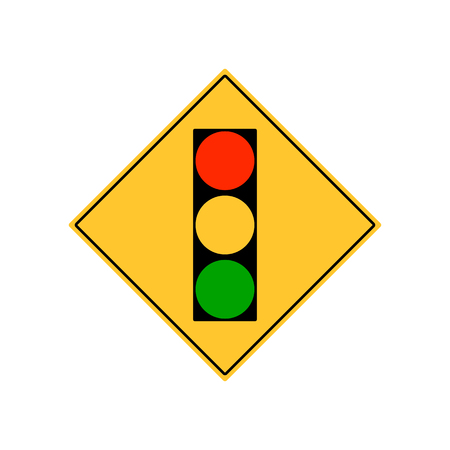 danger ahead: Road sign city traffic light ahead vector.