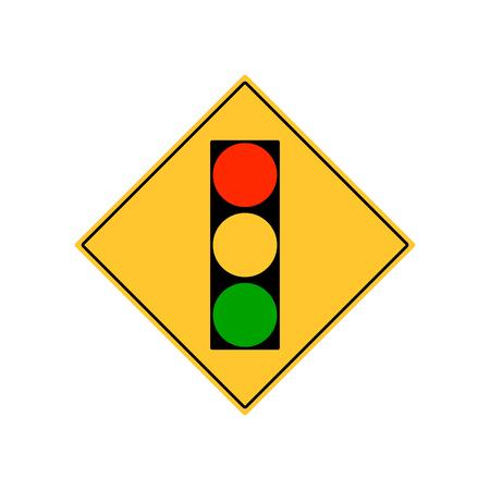 Road sign city traffic light ahead vector.