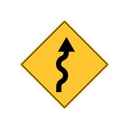 Winding Road Sign Warning vector Illustration