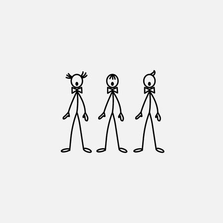 Cartoon icons of sketch stick singer figures trio in cute miniature scenes.