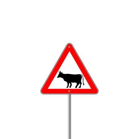 danger ahead: Cow Warning sign red. Farm Hazard attention symbol
