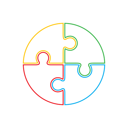 Jigsaw puzzle in the form of circle. Illustration