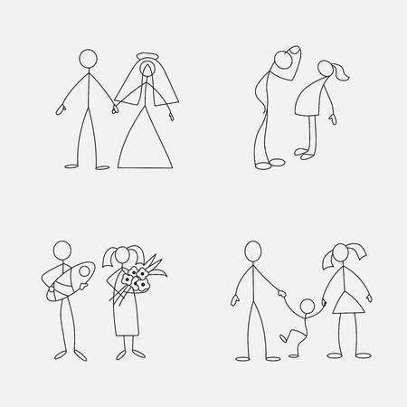 Cartoon icons set of sketch little people in cute miniature scenes. 矢量图像