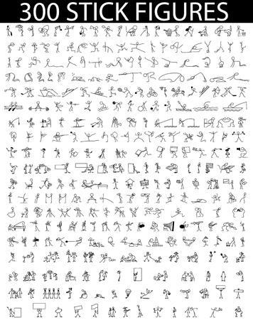 Cartoon icons set of 300 sketch little people stick figure  イラスト・ベクター素材