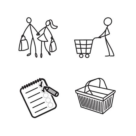 Stick figure icons Illustration