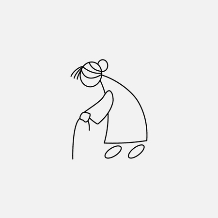 Cartoon icon of sketch stick figure old woman