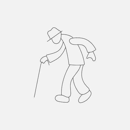 gerontology: Stick figure old man