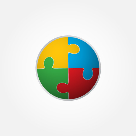 Jigsaw puzzle in the form of a colored circle. Vector