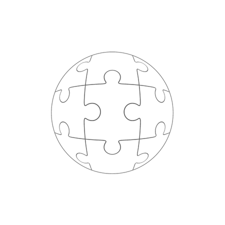 Jigsaw puzzle in the form of a circle. Vector illustration. Illustration