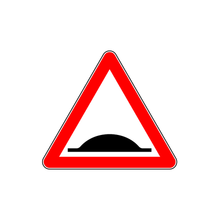 Warning Bumps Road sign in triangular red frame. Illustration
