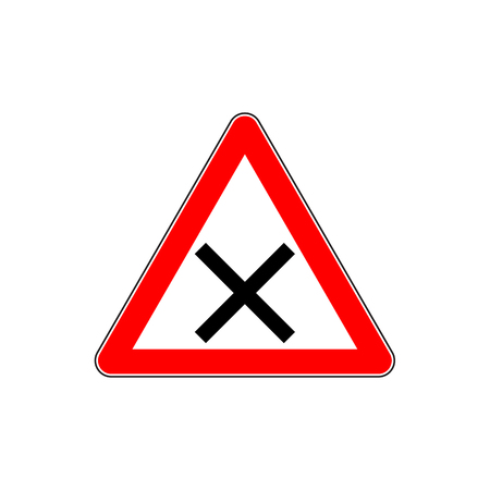 Indicating warning road sign for intersection