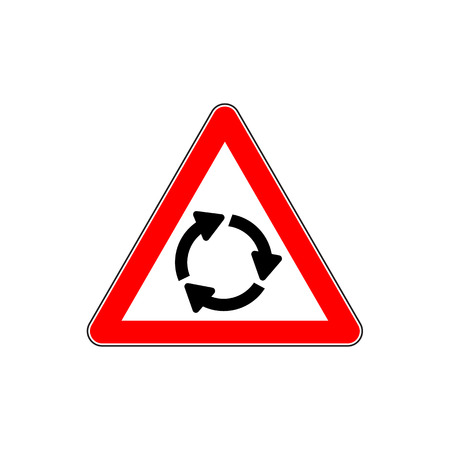 Roundabout crossroad ahead, red triangle warning sign vector illustration.
