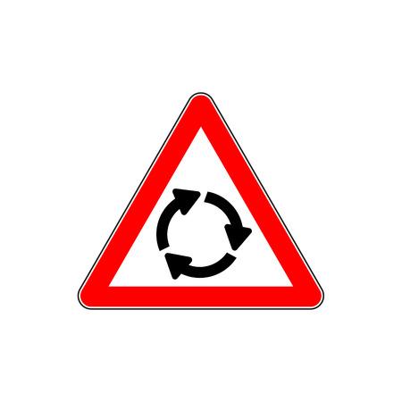 Carrefour rond-point devant, illustration vectorielle de triangle rouge panneau d'avertissement.