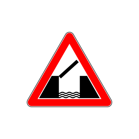 Lifting bridge warning sign icon, flat style