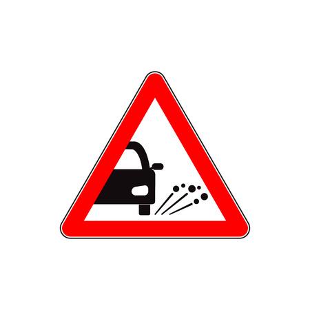 Ejection of gravel road sign flat illustration