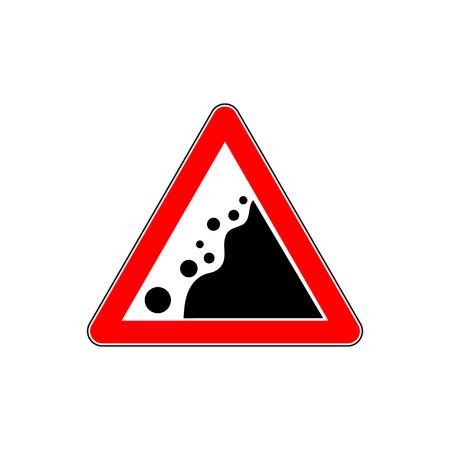 Road Warning falling stone sign