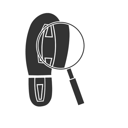 Search foot print and magnifying glass icon vector