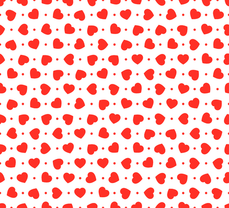Red hearts seamless pattern. Vector illustration