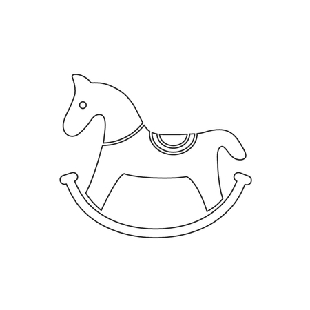 Toy rocking horse vector icon isolated on white background