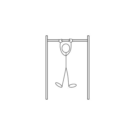 Stick figure man pulling up pull up on the horizontal bar
