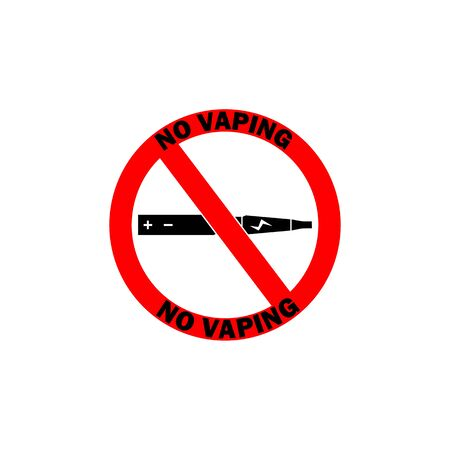 NO VAPING ALLOWED sign. Flat icon in red circle Stock Illustratie
