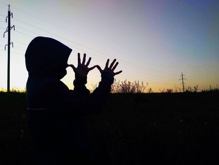 Boys silhouette doing funny figures with hands opposite sunset outdoors