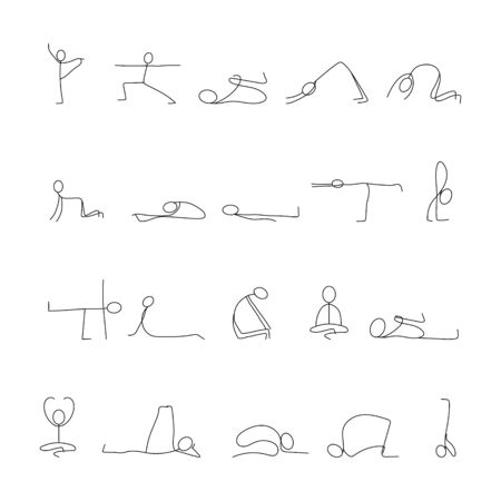 20 yoga poses stick figure line vector