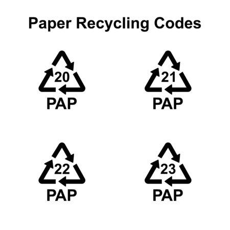Vektorzeichen für Recyclingcodes für Papier und Pappe Vektorgrafik