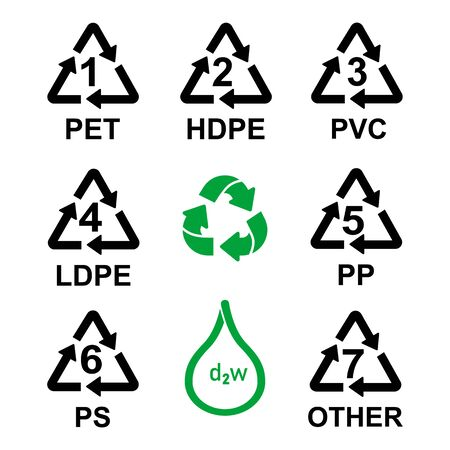 Plastic Resin Identification Codes set icons, packing recycle plastic packings signs Stock Illustratie