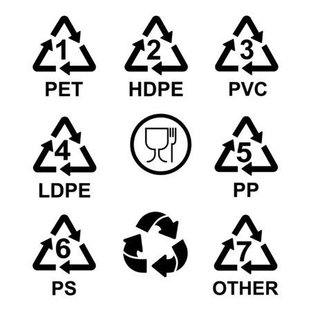 Plastic Resin Identification Codes set icons Stock Illustratie