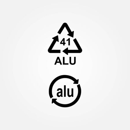 Aluminium recycling symbol ALU 41 Illustration
