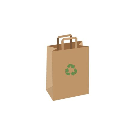 Shopping paper eco craft bag vector illustration