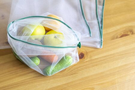 Plastic free recycled textile bag for fruit